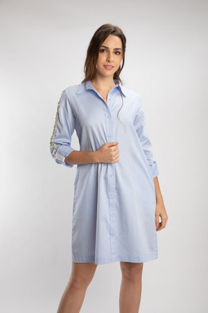 Sky Blue Swarovski Shirt Dress
