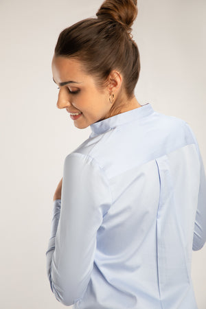 Sky Blue Mandarin Collared Long Shirt