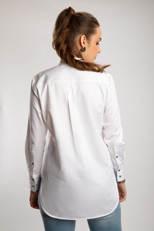 Load image into Gallery viewer, White Mandarin Collared Long Shirt