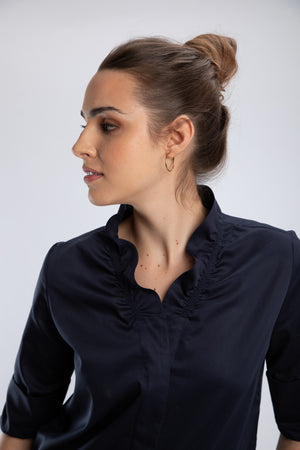 Load image into Gallery viewer, Navy Ruffle Collar Button Down Shirt