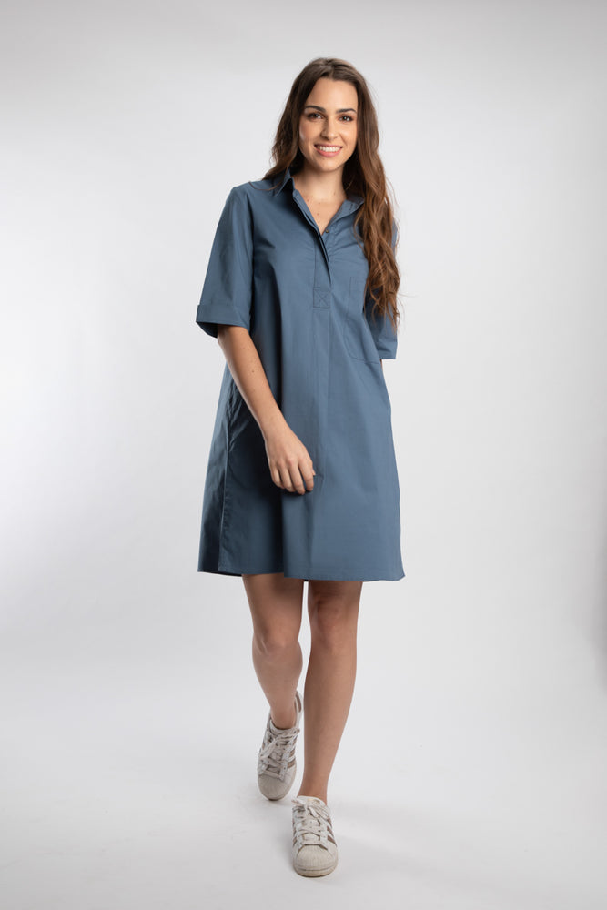 Load image into Gallery viewer, Elephant Grey Pleated Pocket Dress