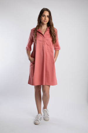 Load image into Gallery viewer, Sea Shell Pink Pleated Pocket Dress With PLV Brooch