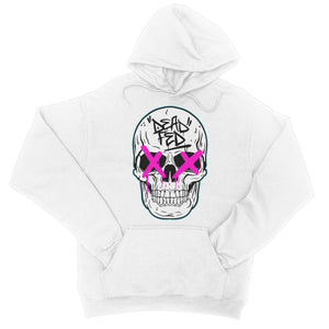 Johnny Dead Fed - White/Pink College Hoodie