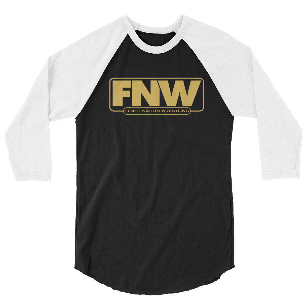 Fight! Nation Wrestling Wrestlng Gold Logo 3/4 sleeve raglan shirt