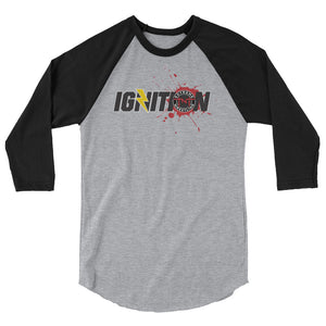 TNT Extreme Wrestling IGNITION logo 3/4 sleeve raglan shirt