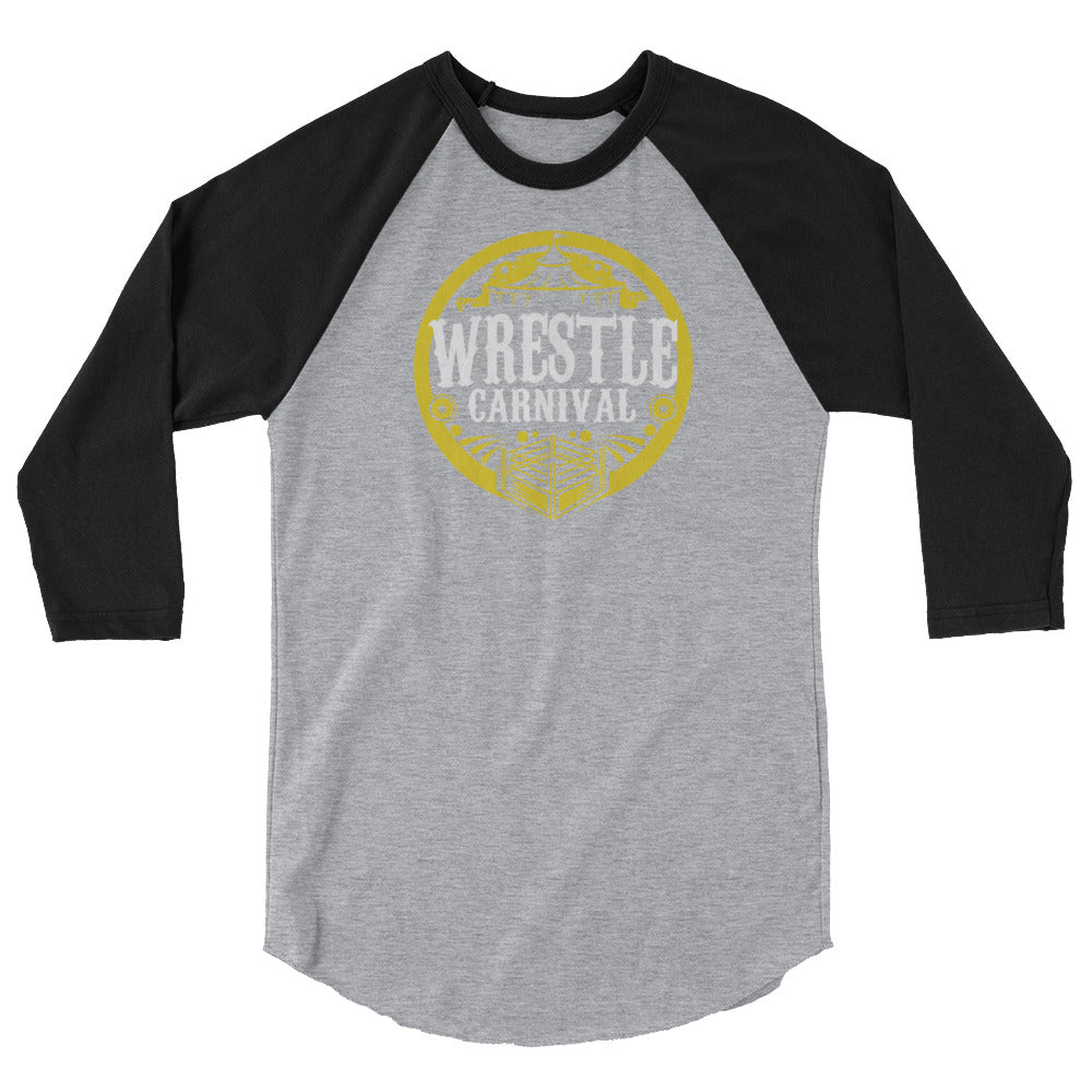 Wrestle Carnival Gold Logo 3/4 sleeve raglan shirt