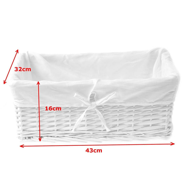 white wicker storage basket measurements