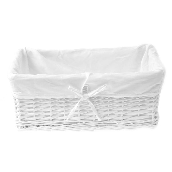 white presentation wicker basket