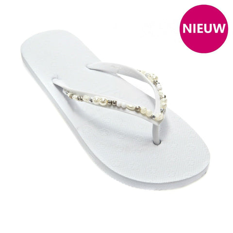 elegante parel teenslippers wit