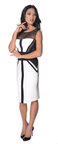 BCBGMAXAZRIA White Illusion Yoke Colorblock Sheath Dress