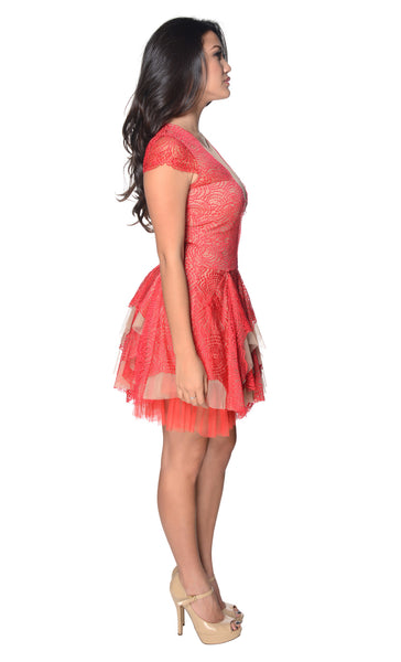 BCBGMAXAZRIA Red Berry Combo Rochelle Cap Sleeve Scallop Lace Dress