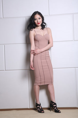 Nude Interlock Midi Dress
