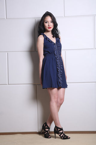 Navy Ruffled Zipper Dress