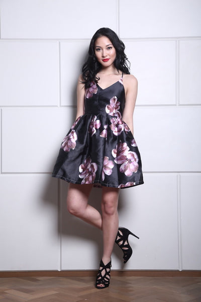 Black Floral Peplum Dress