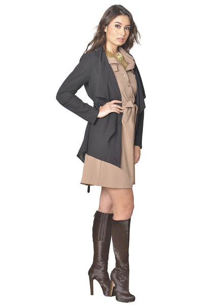Bundle Look - Midi Chiffon Layering Piece with Taupe Military Dress