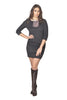 Black Mid-Sleeve Fringe Dress