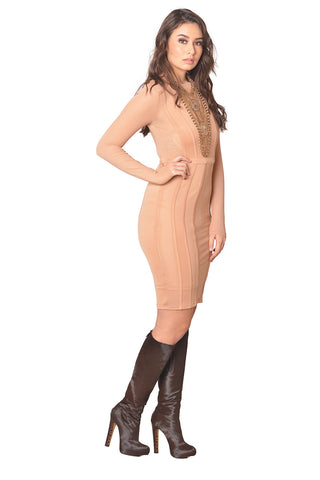 Taupe Long Sleeve Mesh Dress