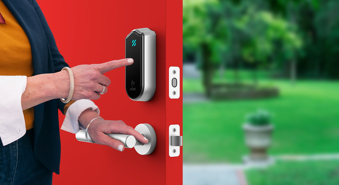 Home security device, smart lock, security system, home safety with Shepherd Lock.