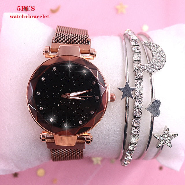 2019 New brand Starry Sky Women Watch Fashion Elegant Magnet Buckle Vibrato Purple Gold Ladies Wristwatch Luxury Women Watches