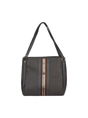Zipper Detail Neutral Handbag-Grey