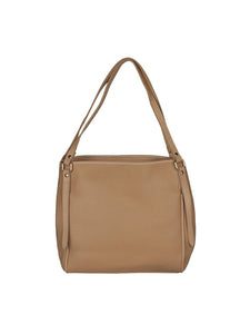 Zipper Detail Neutral Handbag-Beige