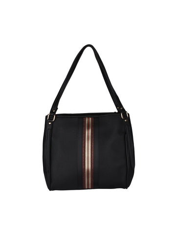 Zipper Detail Neutral Handbag-Black