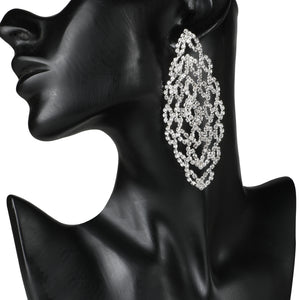 GLITTERING STUDDED LACE DESIGN PARTY EARRINGS