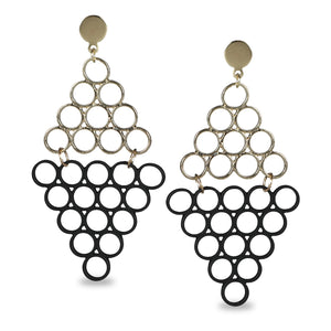 GEOMETRIC DESIGN EARRING WITH BLACK AND SILVER RINGS