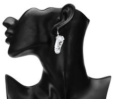 Load image into Gallery viewer, DESIGNER FACE SHAPED SOLID SILVER DROP EARRINGS