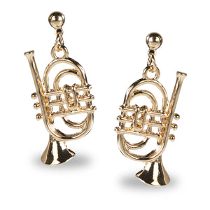 TRUMPET SHAPED GOLD DROP EARRINGS