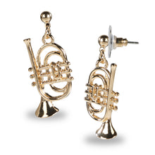Load image into Gallery viewer, TRUMPET SHAPED GOLD DROP EARRINGS