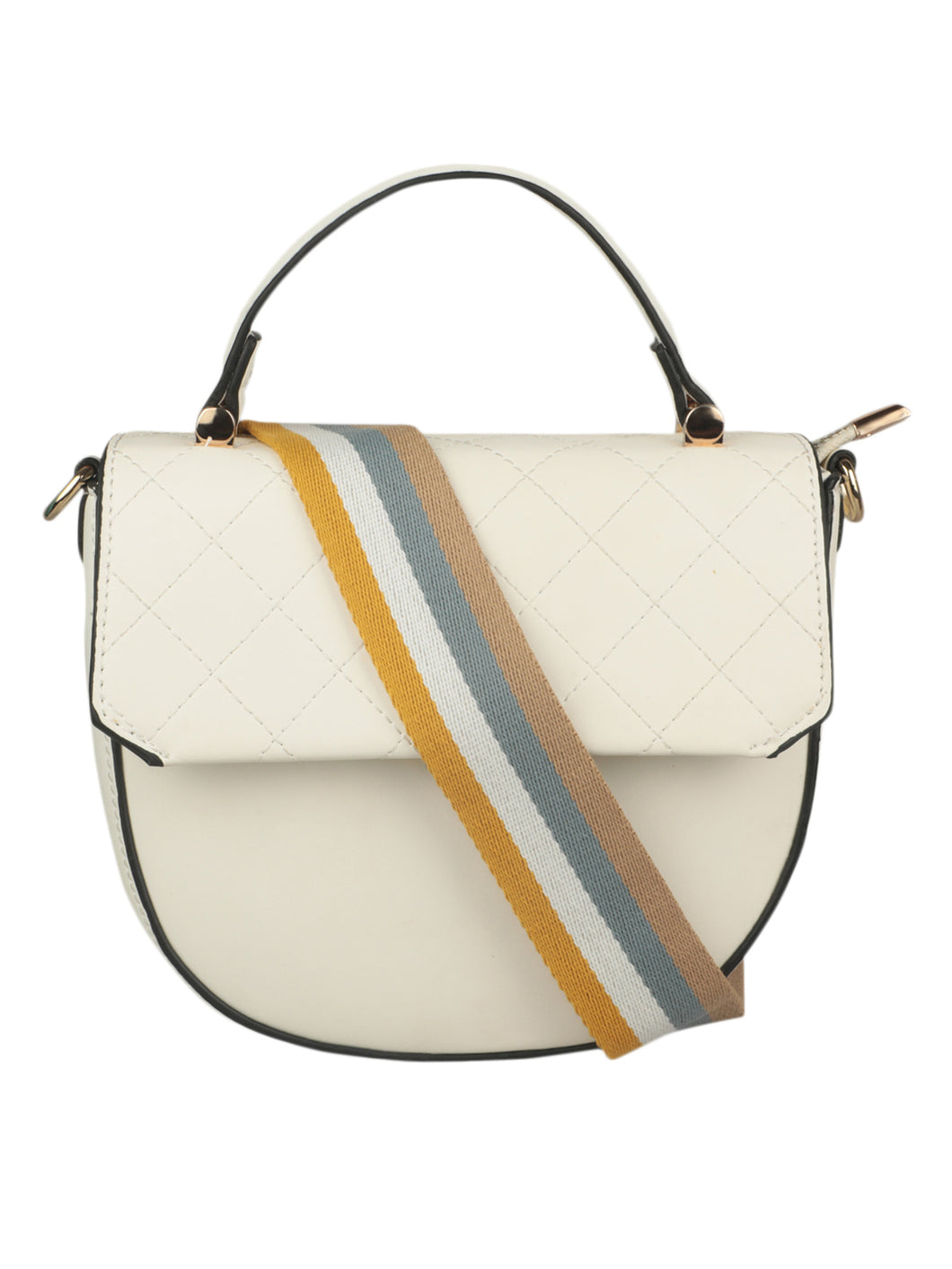 WHITE SLING BAG WITH RAINBOW STRAP