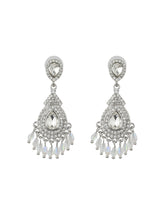 Load image into Gallery viewer, Silver Diamond Studded Drop Earrings
