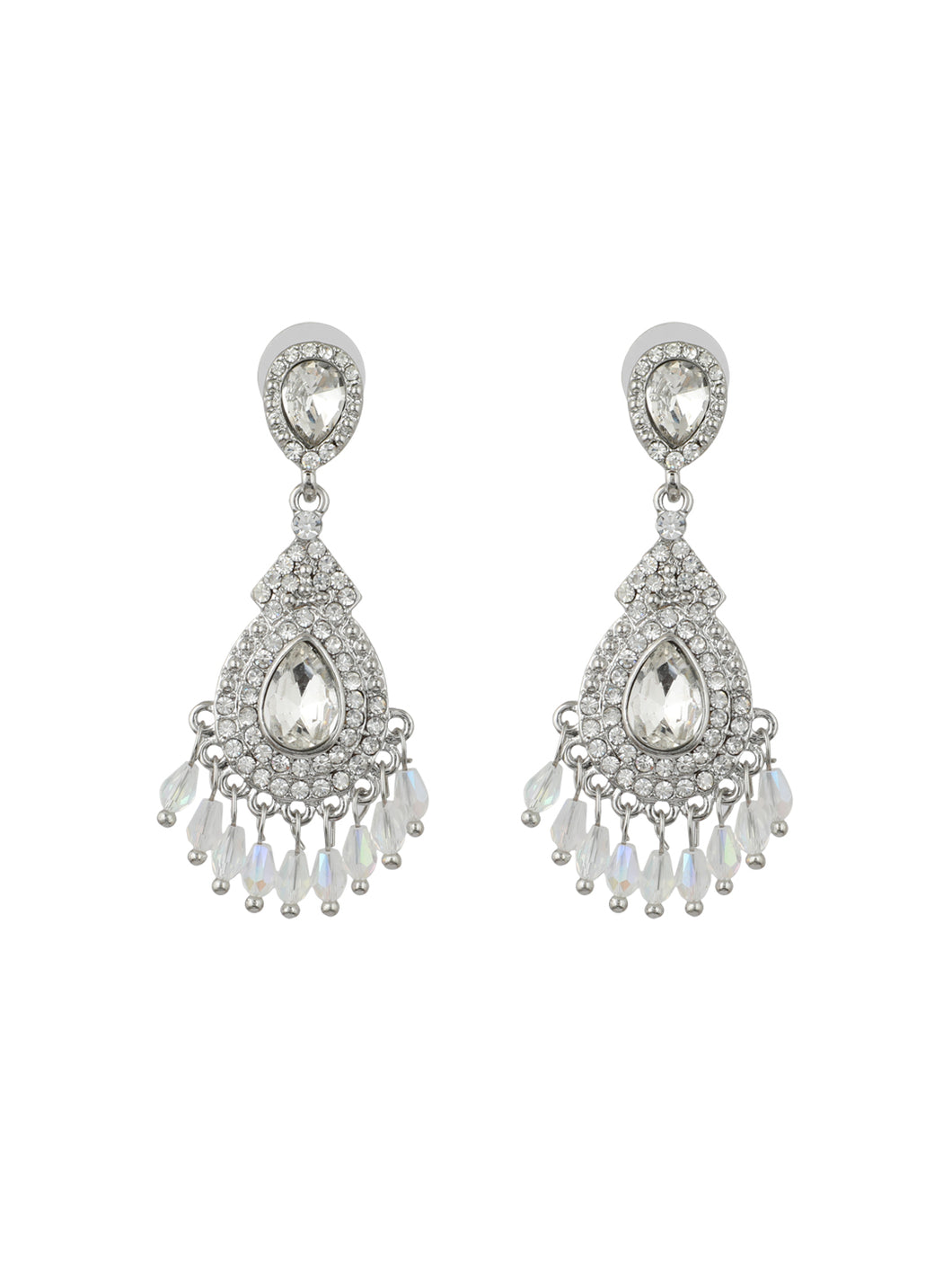 Silver Diamond Studded Drop Earrings