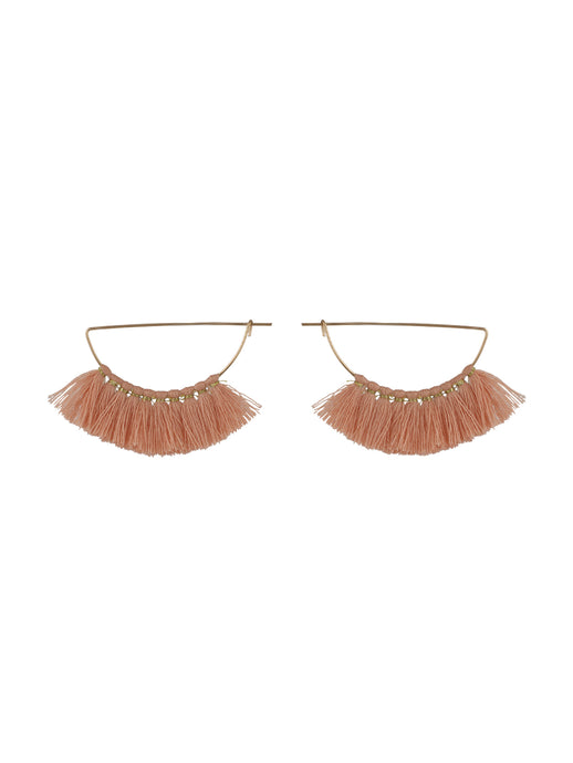 Peach Thread Tassel Earrings