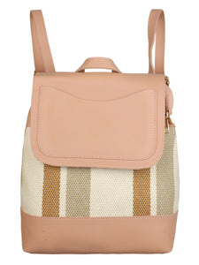 PINK STRIPED BAG PACK FOR WOMEN