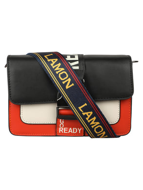 A SUPER CHIC RED AND BLACK SLING BAG