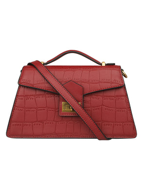 TEXTURED CROC RED LEATHER FORMAL SLING