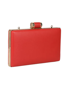 SIMPLE RED ELEGANT CLUTCH WITH LONG CHAIN