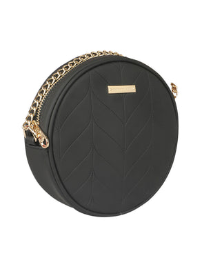 SUPER EXOTIC CIRCULAR BLACK SLING BAG