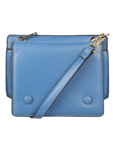 CONTRASTING  BLUE AND TAN SHADED SLING BAG
