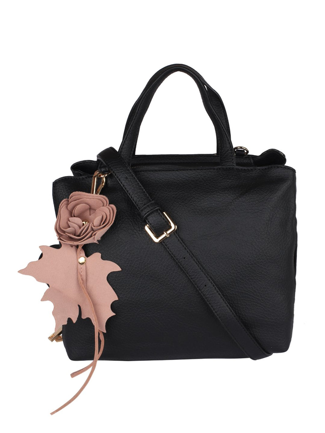 Flower Detail Handbag-Black