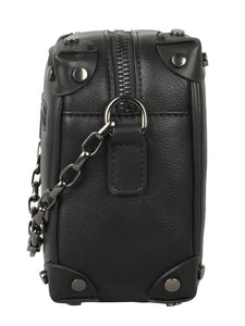 BLACK SLING BAG WITH SILVER HANDLE