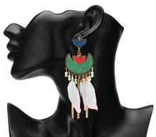 Load image into Gallery viewer, MULTICOLORED TURKISH ENAMELLED EARRINGS WITH FEATHERS
