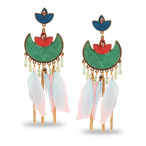 MULTICOLORED TURKISH ENAMELLED EARRINGS WITH FEATHERS