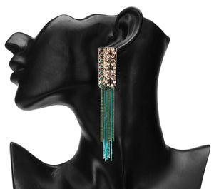INTRICATELY CARVED LONG TEAL N SKY BLUE EARRINGS WITH METAL TASSEL