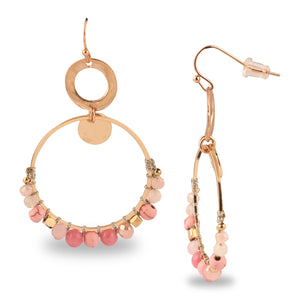 GOLD RING SHAPED EARRINGS EMBELLISHED WITH PINK BEADS