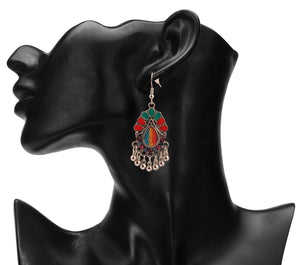 Intricately Carved Oxidised rainbow Earrings