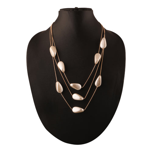 MULTILAYERED NECKLACE WITH DROP SHAPED BEADS