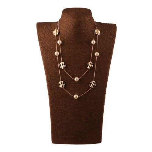 MULTILAYERED NECKLACE WITH METAL BEADS